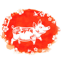 watercolor background with floral pig zodiac vector image