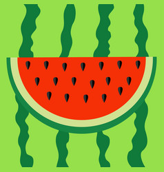 watermelon slice icon cut half seeds red fruit vector image