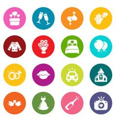 wedding icons set colorful circles vector image
