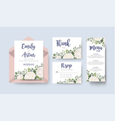 Wedding invite invitation menu thank you rsvp vector