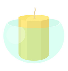 white candle in the glass candlestick icon vector image
