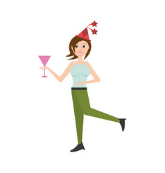 Woman celebrating cartoon vector