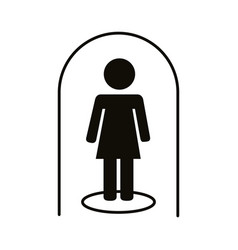 Woman in dome stay at home silhouette style icon vector