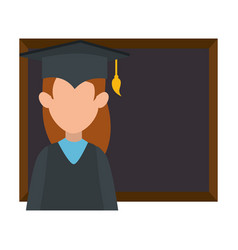 woman student graduated with chalkboard vector image