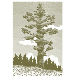 Woodcut Giant Cedar vector