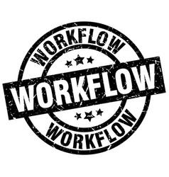 workflow round grunge black stamp vector image