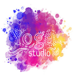 Yoga studio design template over colorful vector