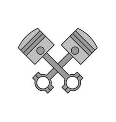 crossed engine pistons icon vector image