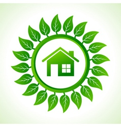 Eco home inside the leaf background vector image vector image