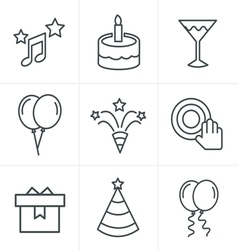 Line Icons Style party Icons Set Design vector image vector image