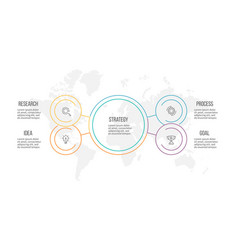 outline infographic organization chart with 4 vector image vector image