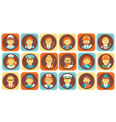 profession people icons set professional human vector image