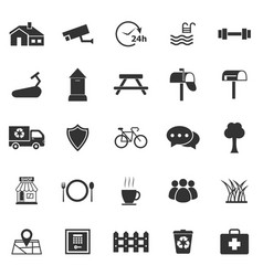village icons on white background vector image vector image