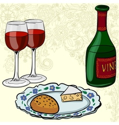 drawing of wine and glasses vector image vector image