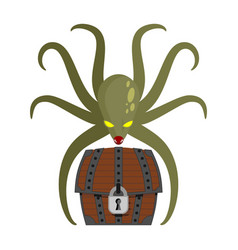 Octopus and treasures poulpe and chest of pirate vector