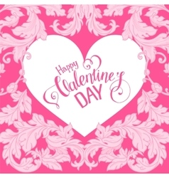 Valentines day card with floral elements vector image vector image