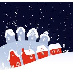 Winter Christmas snowing night village vector image