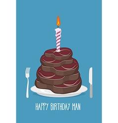 Cake cuts of meat Happy birthday man Delicious vector image vector image