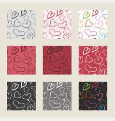 hearts pattern set vector image vector image