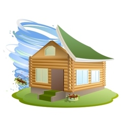 Property insurance hurricane destroyed house vector