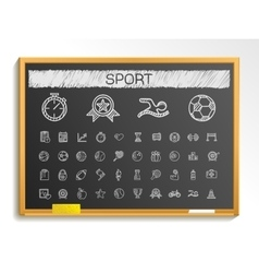 Sport hand drawing line icons chalk sketch sign vector image vector image