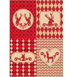 Christmas deers with patterns vector image vector image