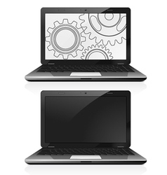 Laptop with gears on the screen vector image vector image