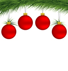 Red Christmas balls on pine branch vector image vector image