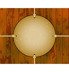 Round cardboard frame on the ropes vector image vector image