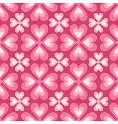 seamless pattern of stylized flowers and hearts vector image vector image