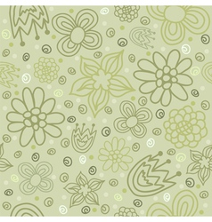 seamless pattern with flowers in green color vector image vector image