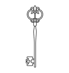 Vintage antique key contoured silhouette isolated vector image