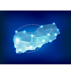 Yemen country map polygonal with spot lights vector