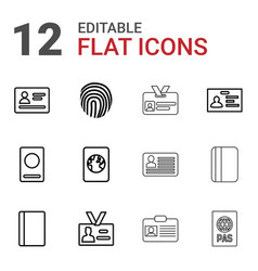12 id icons vector image