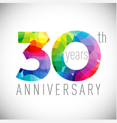 30 th anniversary facet years multicolored vector