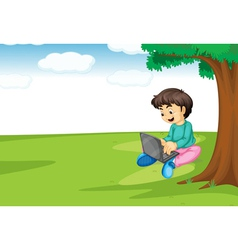 a boy and laptop vector image