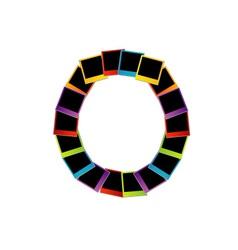 Alphabet O with colorful polaroids vector image