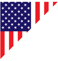 american flag corner frame with empty space vector image