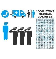Army Icon with 1000 Medical Business Pictograms vector