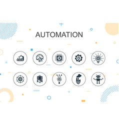 Automation trendy infographic template thin line vector