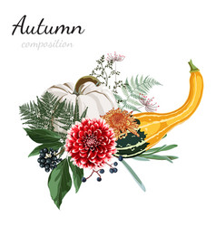 autumn composition beautiful flowers herbs vector image