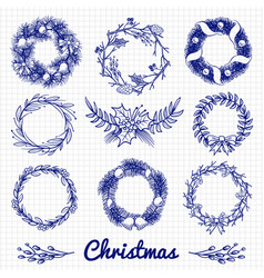 Ballpoint pen drawing christmas doodle wreath and vector