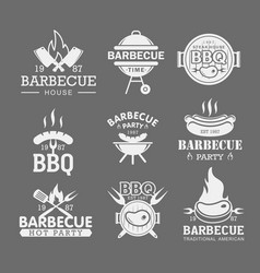 bbq white logo templates set steak house grilled vector image