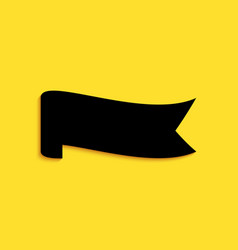 Black banner ribbon icon isolated on yellow vector