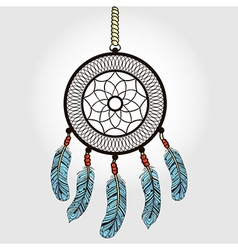 Boho dream catcher with feathers indian symbol vector