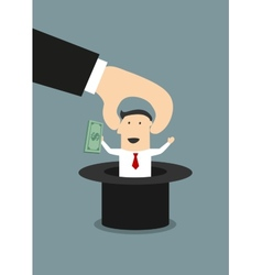 Boss takes out of a hat happy businessman vector