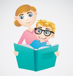 Boy and Mom Reading The Book vector