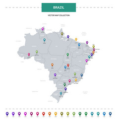 brazil map with location pointer marks vector image