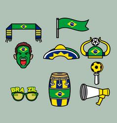 Brazil soccer supporter gear set vector