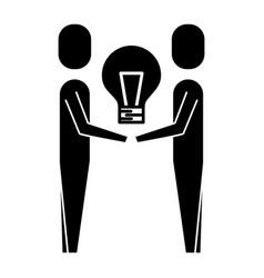 business men holding bulb creativity work team vector image